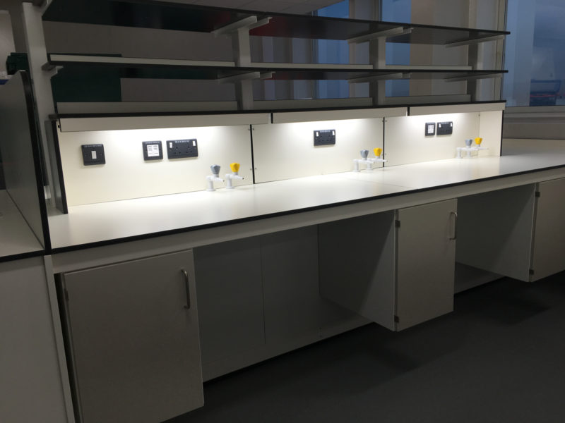 C5041 - Universtiy of Bradford - Chemistry Laboratory Furniture - Lab Tables Cabinets Plug Sockets Gas Taps Shelving