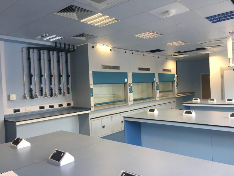 Natural Resources Wales - Lab Design and Refurbishment - Lab Workspace Fume Cupboards Plug Sockets Cabinets