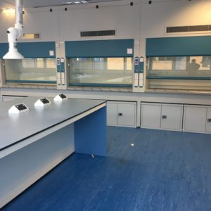 Natural Resources Wales - Lab Design and Refurbishment - Lab Workspace Extraction Arm Fume Cupboards Plug Sockets Cabinets