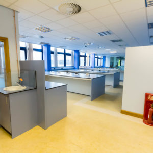 Natural Resources Wales - Lab Design and Refurbishment - Sink Cabinet Fire Extinguisher Stand Plug Sockets