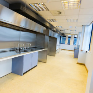 Natural Resources Wales - Lab Design and Refurbishment - Sink Cabinet Pipes Ceiling Fan Vent