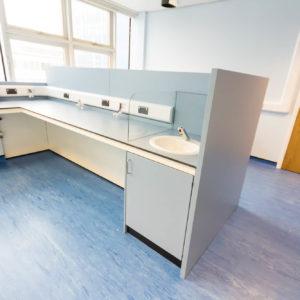 Natural Resources Wales - Lab Design and Refurbishment - Sink Plug Sockets Gas Taps Door