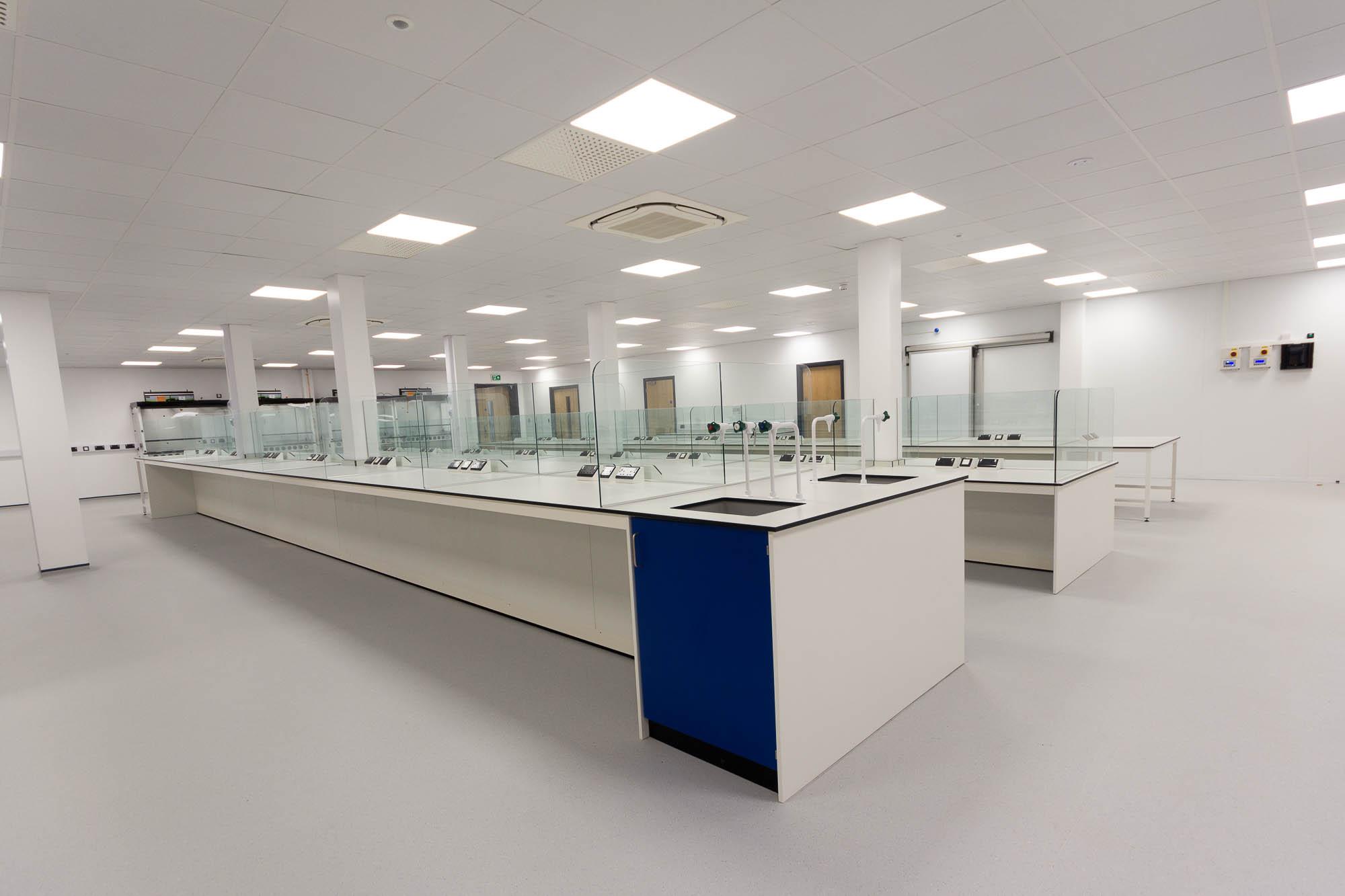 C5147 - Alere Abingdon - Unit 21 - Warehouse Laboratory Convertion Refurbishment - Lab Bench Plug Socket Door Sink Fume Cupboard