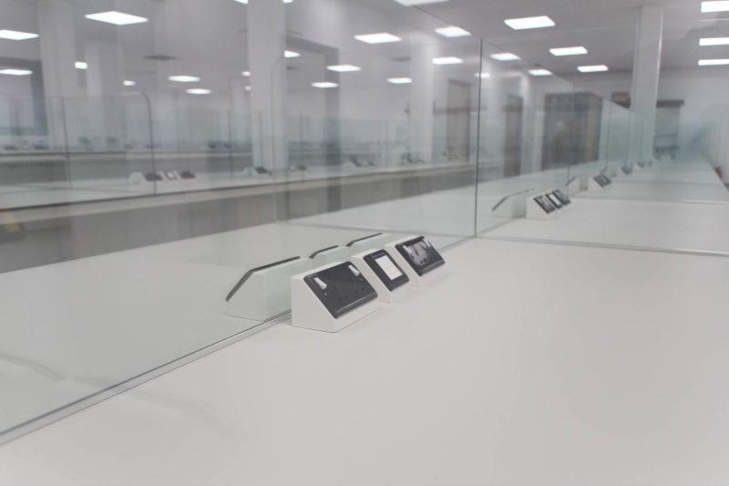 C5147 - Alere Abingdon - Unit 21 - Warehouse Laboratory Convertion Refurbishment - Plug Sockets Work Bench Lab