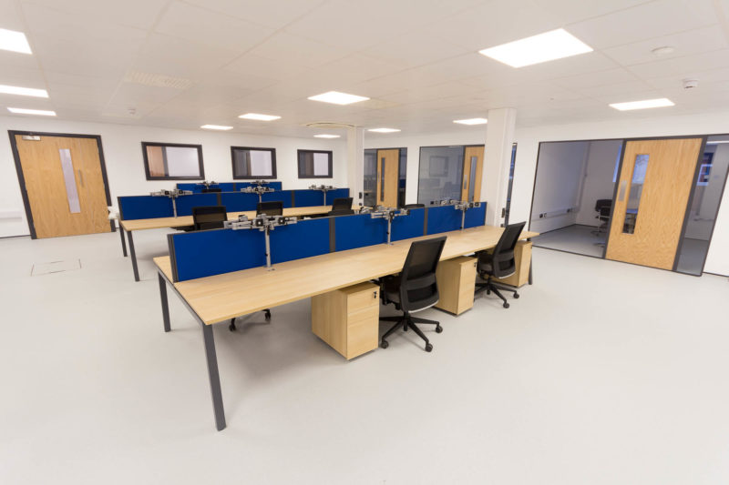 C5147 - Alere Abingdon - Unit 21 - Warehouse Laboratory Convertion Refurbishment - Office Space Desks Office Chairs Doors Conference Rooms