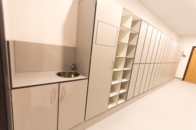 C5147 - Alere Abingdon - Unit 21 - Warehouse Laboratory Convertion Refurbishment - Sink Storage Cupboards Cabinets Lockers Door Shelving