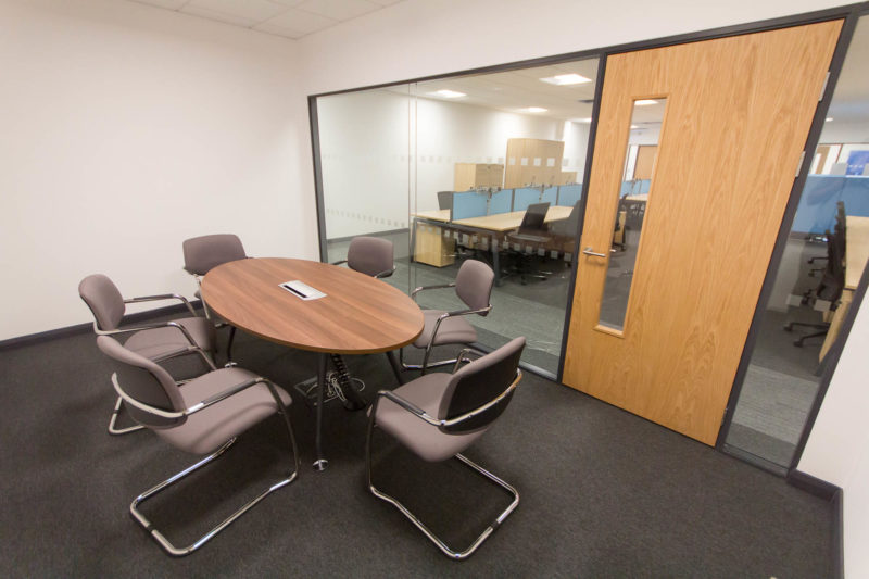 5147 - Alere Abingdon - Unit 21 - Warehouse Office Convertion Refurbishment - Conference Room Door Desk Chairs