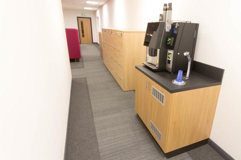 C5147 - Alere Abingdon - Unit 21 - Warehouse Office Convertion Refurbishment - Coffee Machine Cabinets and Drawers