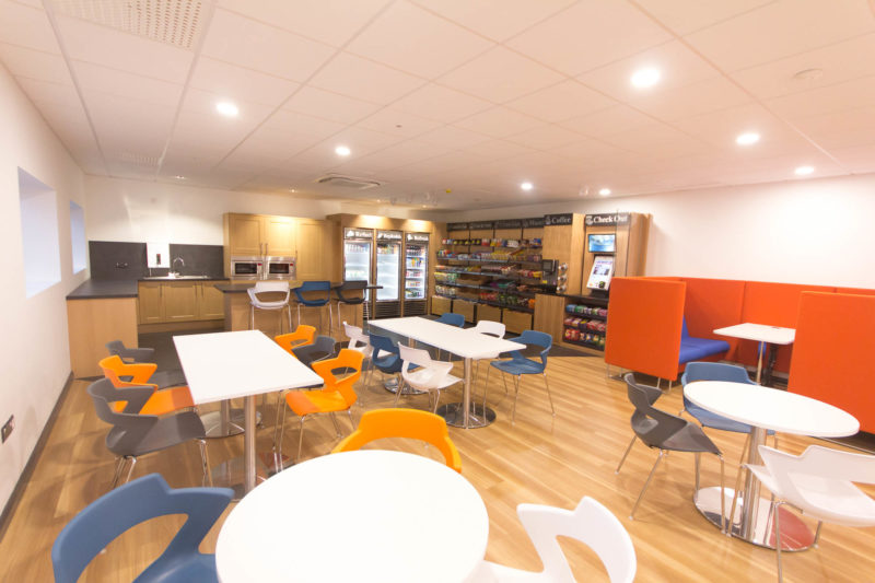 C5147 - Alere Abingdon - Unit 21 - Warehouse Office Convertion Refurbishment - Cafe Eating Tables Chairs Food Kitchen