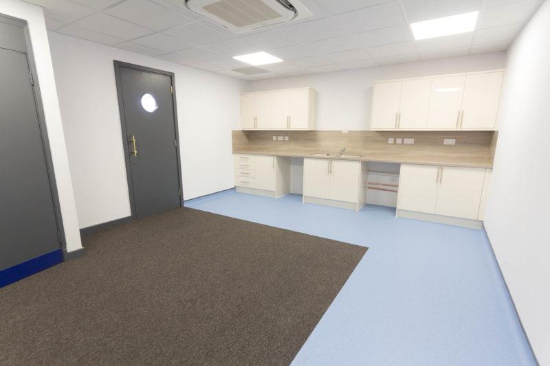 C5208 - Spire Parkway 1 - Lab Workspace Cabinets Doors Plug Sockets