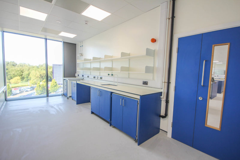 C5253 - Vaccitech - Microbiology Vaccine Lab - Lab Workspace Cabinets Drawers Shelving Plug Sockets Sink