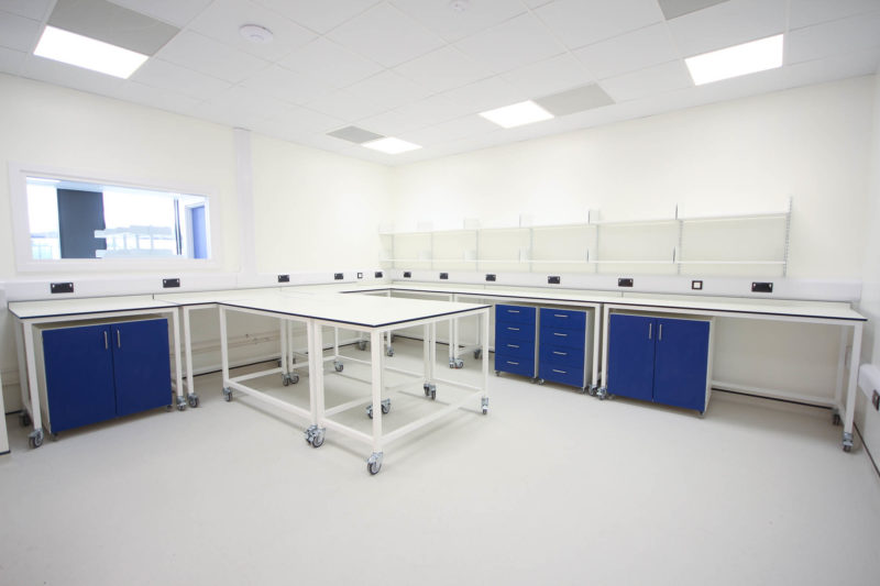 C5253 - Vaccitech - Microbiology Vaccine Lab - Lab Workspace Cabinets Table Shelving Plug Sockets