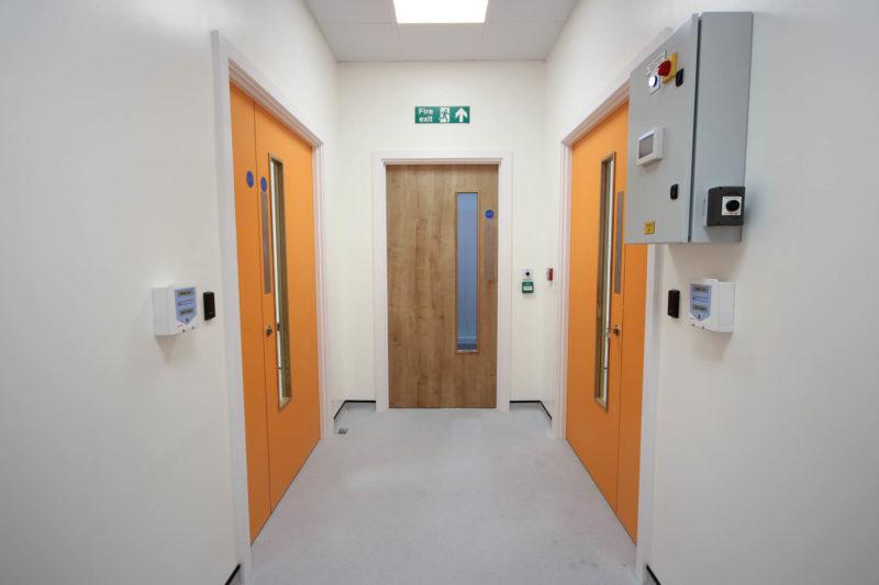 C5253 - Vaccitech - Microbiology Vaccine Lab - Corridor Doors Electric Box Fire Exit