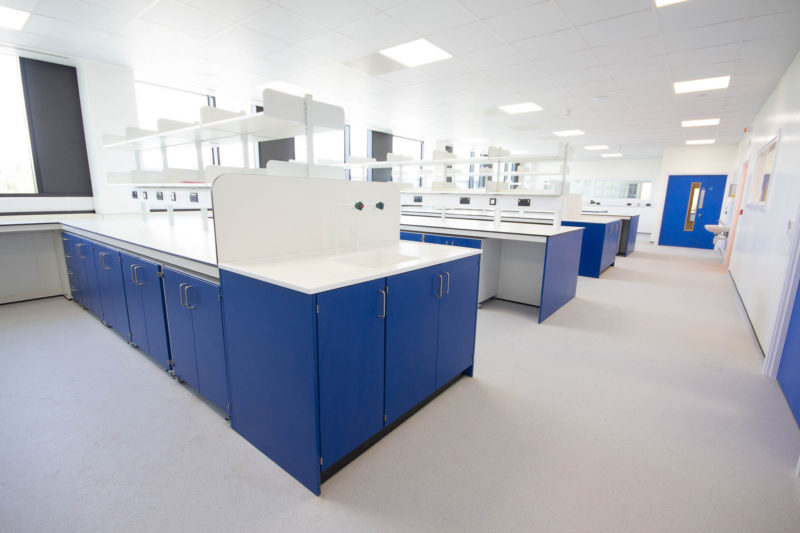 C5253 - Vaccitech - Microbiology Vaccine Lab - Cabinets Sinks Lab Taps Shelving Door Lab Space