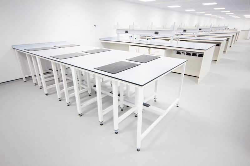C5301-Pharmaceutical Cellular Quality Control Laboratories- Tables Lab Workspace Cabinets Drawers Taps