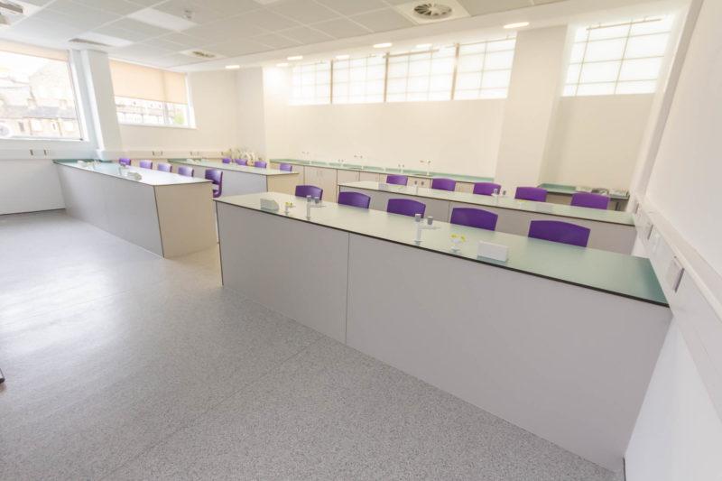 C6018 - Kirklees College Waterfront Lab - Sink Lab Tap Lab Stool Bench Gas Tap Plug Socket