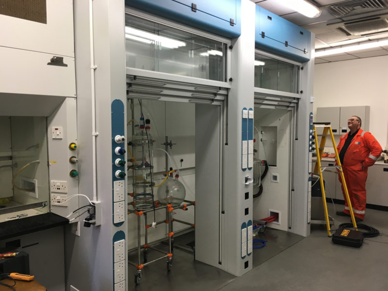C5079 - Warwick Chemicals - Walkin Fume Cupboards - Complete - 01 - Fume Cupboard Laboratory Equipment Plug Sockets Work Man DI Taps
