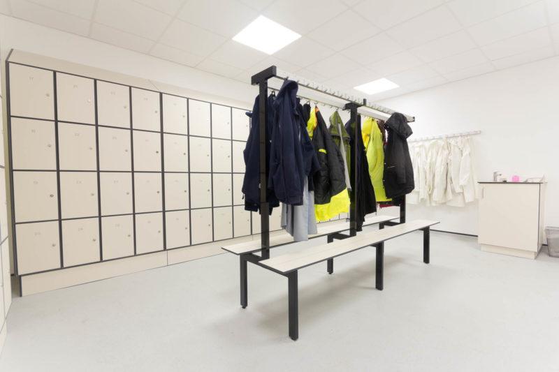 C5185 - AMEC Foster Wheeler - Solid Grade Laminate Locker Room - Lockers Jackets Hi Viz Lab Coats Cabinet Benches